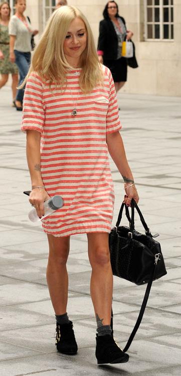 orange-dress-zprint-black-shoe-booties-black-bag-necklace-stripe-tshirt-wear-style-fashion-spring-summer-fearnecotton-celebrity-street-blonde-lunch.jpg