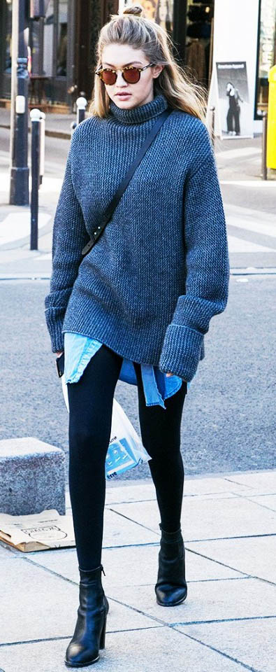 black-leggings-blue-light-top-collared-shirt-grayd-sweater-slouchy-black-bag-sun-street-gigihadid-wear-outfit-fashion-fall-winter-chambray-turtleneck-blonde-weekend.jpg