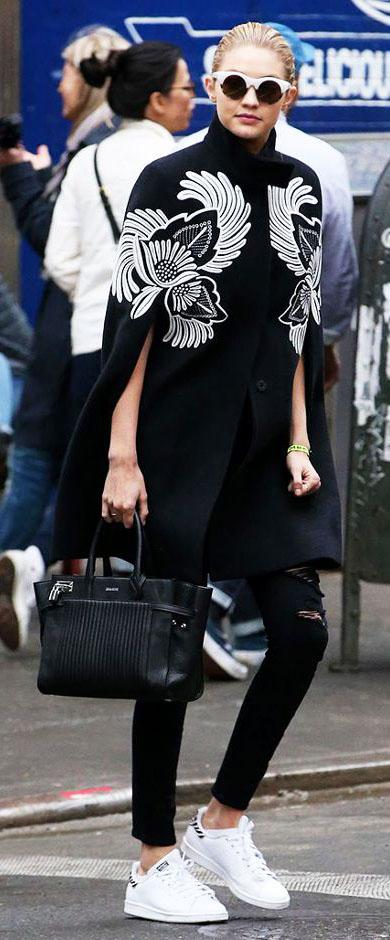 black-skinny-jeans-black-jacket-coat-cape-black-bag-sun-bun-white-shoe-sneakers-mono-gigihadid-fall-winter-blonde-weekend.jpg