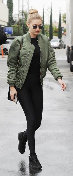 black-leggings-black-tee-green-olive-jacket-bomber-black-bag-gigihadid-wear-outfit-fashion-fall-winter-black-shoe-sneakers-sun-bun-athleisure-blonde-lunch.jpg