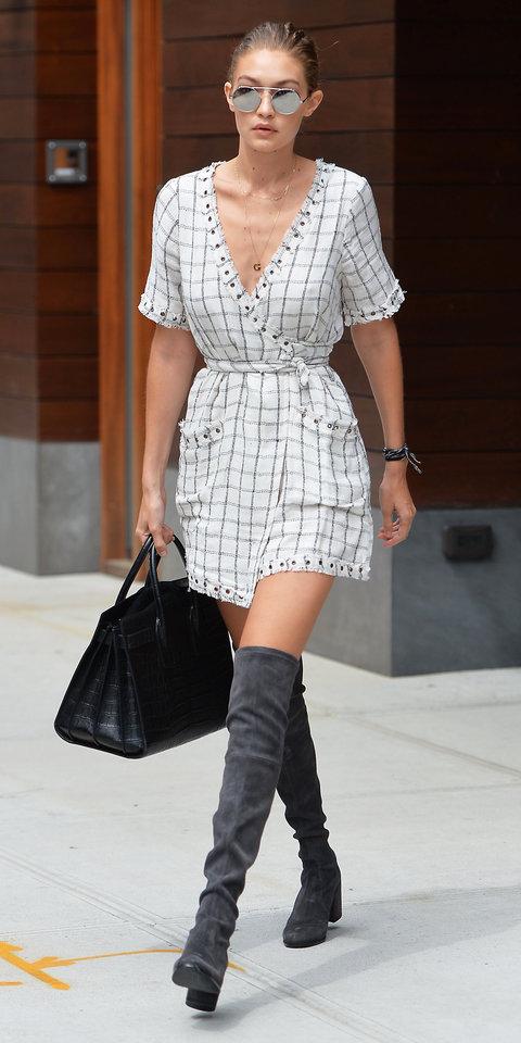 white-dress-gray-shoe-boots-sun-blonde-black-bag-bun-windowpane-necklace-wrap-gigihadid-spring-summer-work.jpg
