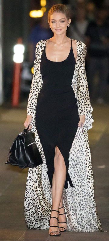 black-dress-tan-jacket-coat-leopard-black-bag-hand-black-shoe-sandalh-bun-studs-blonde-slip-fall-winter-gigihadid-street-style-dinner.jpg