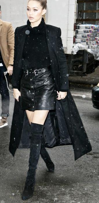 black-mini-skirt-black-sweater-turtleneck-gigihadid-wear-style-fashion-fall-winter-black-jacket-coat-duster-bun-thigh-high-black-shoe-boots-blonde-dinner.jpg