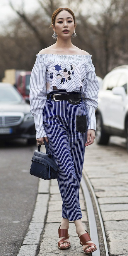 blue-navy-joggers-pants-vertical-stripe-blue-bag-belt-earrings-bun-brown-shoe-sandalh-blue-light-top-offshoulder-spring-summer-hairr-dinner.jpg