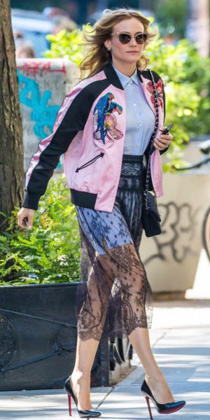 black-midi-skirt-sheer-lace-layer-pink-light-jacket-bomber-black-shoe-pumps-sun-dianekruger-nyc-blue-light-collared-shirt-spring-summer-blonde-dinner.jpg