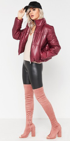 black-leggings-hat-cap-pink-shoe-boots-otk-shiny-burgundy-jacket-coat-puffer-fall-winter-blonde-lunch.jpg