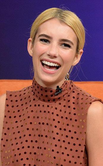 what-to-wear-oval-face-shape-style-haircut-sunglasses-hat-earrings-jewelry-emmaroberts-orange-dress-updo-blonde.jpg