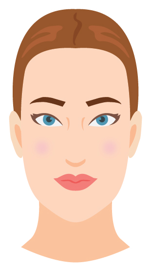 Defining characteristic: You have length in your face! Either an elongated oval shape or elongated shape with a stronger jaw.