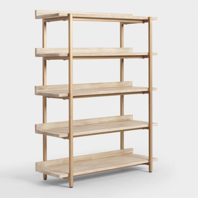 Driftwood Cristela Bookshelf, $499 at Cost Plus World Market - A super pretty piece bookshelf with a modern yet organic feel!