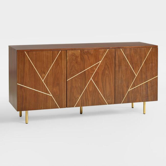 Wood and Metal Inlay Dustin Cabinet, $549 at Cost Plus World Market - This pretty piece can hide away lots of shoes!