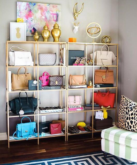 display-bookshelf-how-to-organize-your-handbags-closet-shelves-wall-hooks-display-gold-books-fashion.jpg