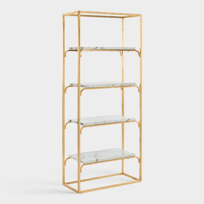 Gold And Marble Marleau Etagere Shelf, $600 at Cost Plus World Market - Super glittery with gold and marble!