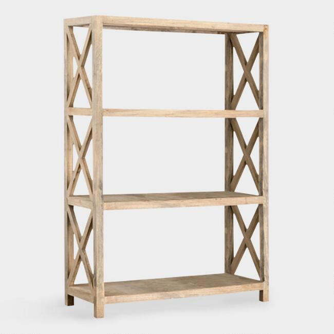 Large Natural Wood Farmhouse Noam Bookshelf, $650 at Cost Plus World Market - This bookcase would hold lots of larger handbags - and we love its cute farmhouse feel.