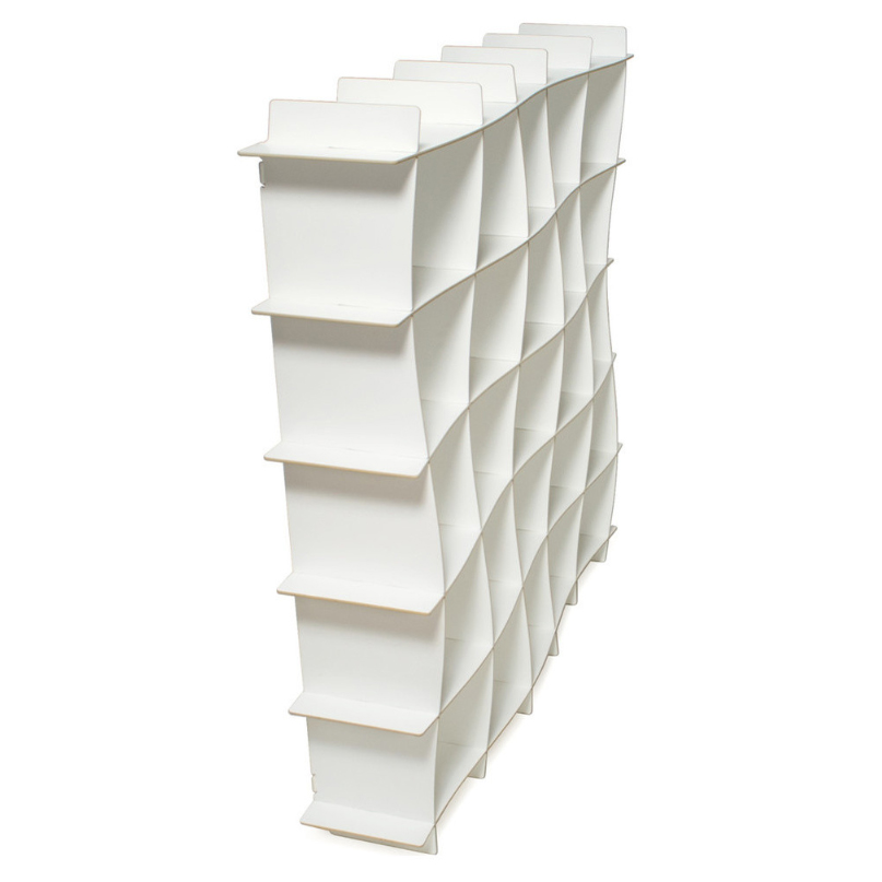 25-Cubby Wave Modern Wood Bookcase, $260 at Houzz - An architecturally-interesting slightly wavy bookcase with many cubbies!