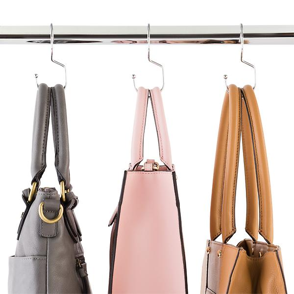 Chrome Metal Tote Hangers, $10/pkg at The Container Store - The perfect closet rod hangers for your purses!