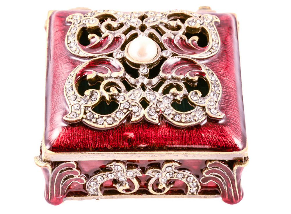 Antique Brass Jana Trinket Box, Handmade with Swarovski Crystal, $40 at Houzz - Looking for something ornate to store a little jewelry on a dresser, or a gift? Try a beautiful box like this!
