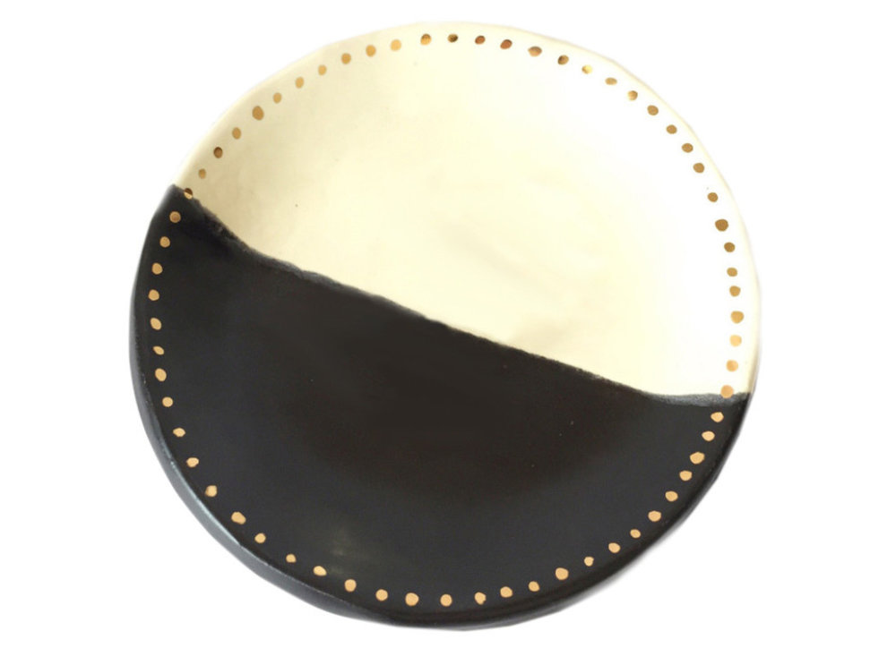 Half Moon Jewelry Trinket Dish With Gold Dots, $26 at Houzz - A serene, handmade little dish to hold some rings or earrings!
