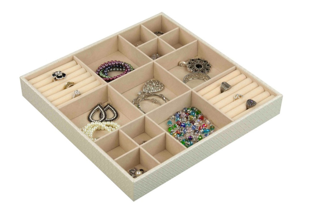 Home Basics 15 Compartment Jewelry Organizer, $27 at Hayneedle - A simple tray that may be all you need if you don't have very much jewelry!