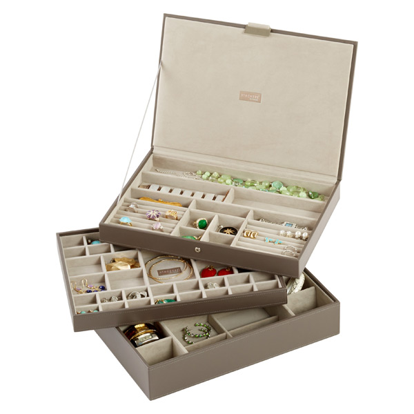 Mink Supersize Stackers Premium Stackable Jewelry Box, $30-$40 at The Container Store - The Container Store sells these trays that can be used inside drawers, individually or stacked on top of each other - there are color and design options.
