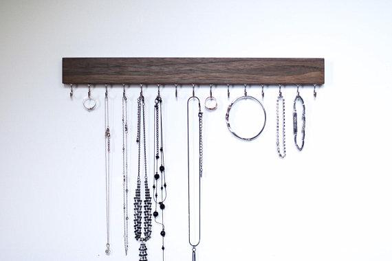 Dark Walnut Solid Walnut Wood Wall Jewelry Organizer, $14 at Etsy - Try this simple hook hanger!