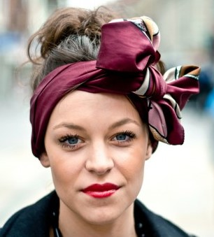 how-to-style-hair-accessories-scarf-scarves-bandana-silk-tied-headband-burgundy-maroon-bow-winter-fall-messy.jpg