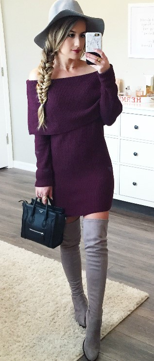purple-royal-dress-sweater-offshoulder-blonde-braid-hat-black-bag-gray-shoe-boots-otk-fall-winter-thanksgiving-outfits-holidays-lunch.jpg
