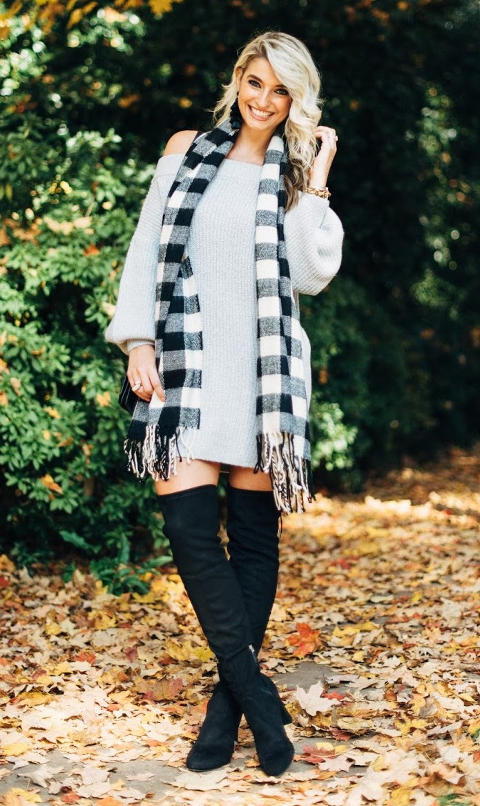 grayl-dress-sweater-plaid-earrings-black-shoe-boots-otk-white-scarf-blonde-fall-winter-thanksgiving-outfits-holidays-lunch.jpg