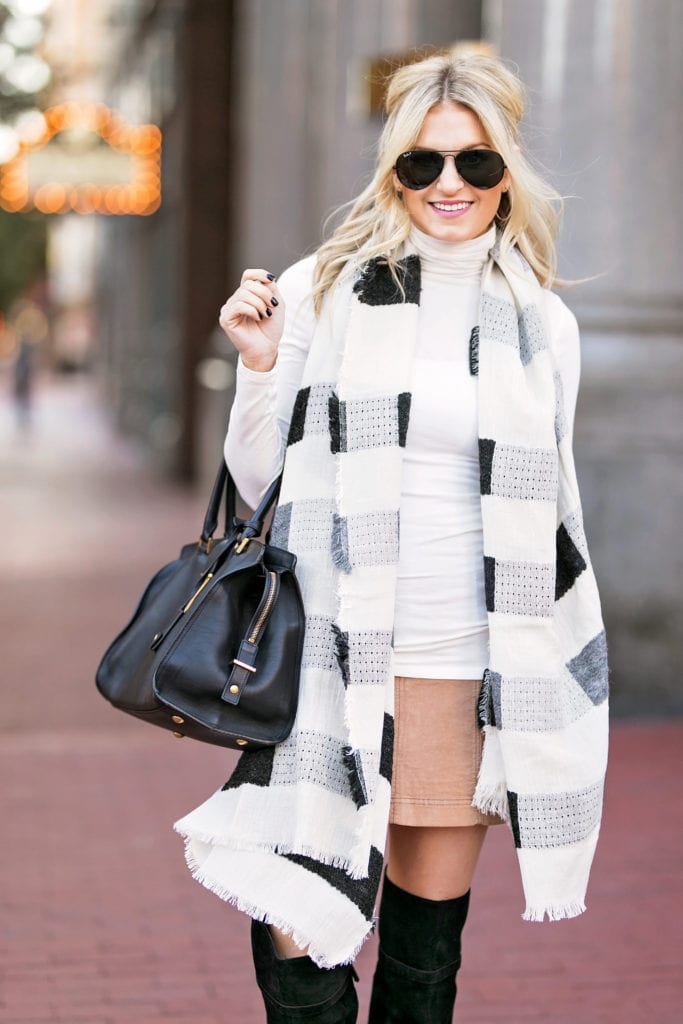 tan-mini-skirt-white-tee-turtleneck-blonde-sun-black-bag-white-scarf-plaid-black-shoe-boots-otk-fall-winter-thanksgiving-outfits-holidays-lunch.jpg