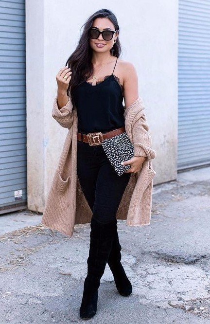 black-skinny-jeans-belt-tan-cardiganl-brun-sun-black-shoe-boots-otk-black-cami-fall-winter-thanksgiving-outfits-holidays-lunch.jpg
