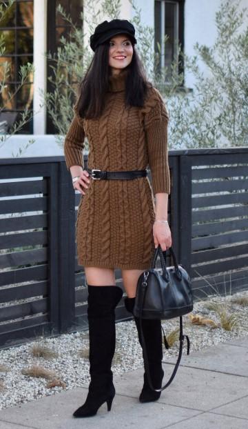 camel-dress-sweater-belt-brun-hat-black-bag-black-shoe-boots-fall-winter-thanksgiving-outfits-holidays-lunch.jpg
