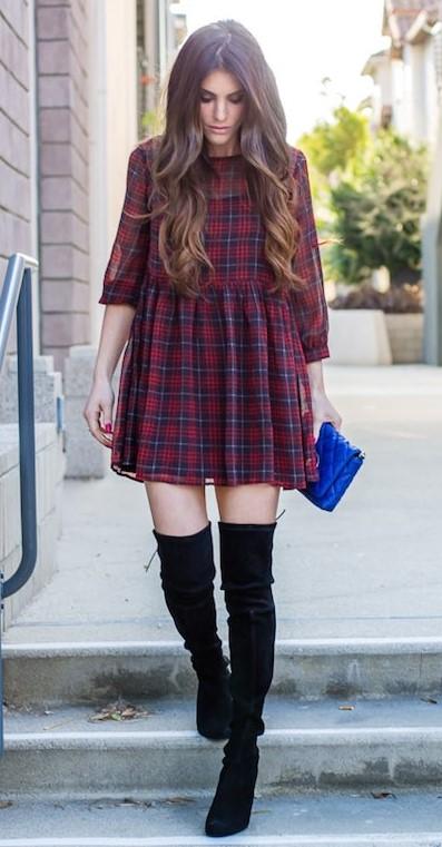 burgundy-dress-mini-plaid-print-hairr-blue-bag-black-shoe-boots-otk-fall-winter-thanksgiving-outfits-holidays-dinner.jpg