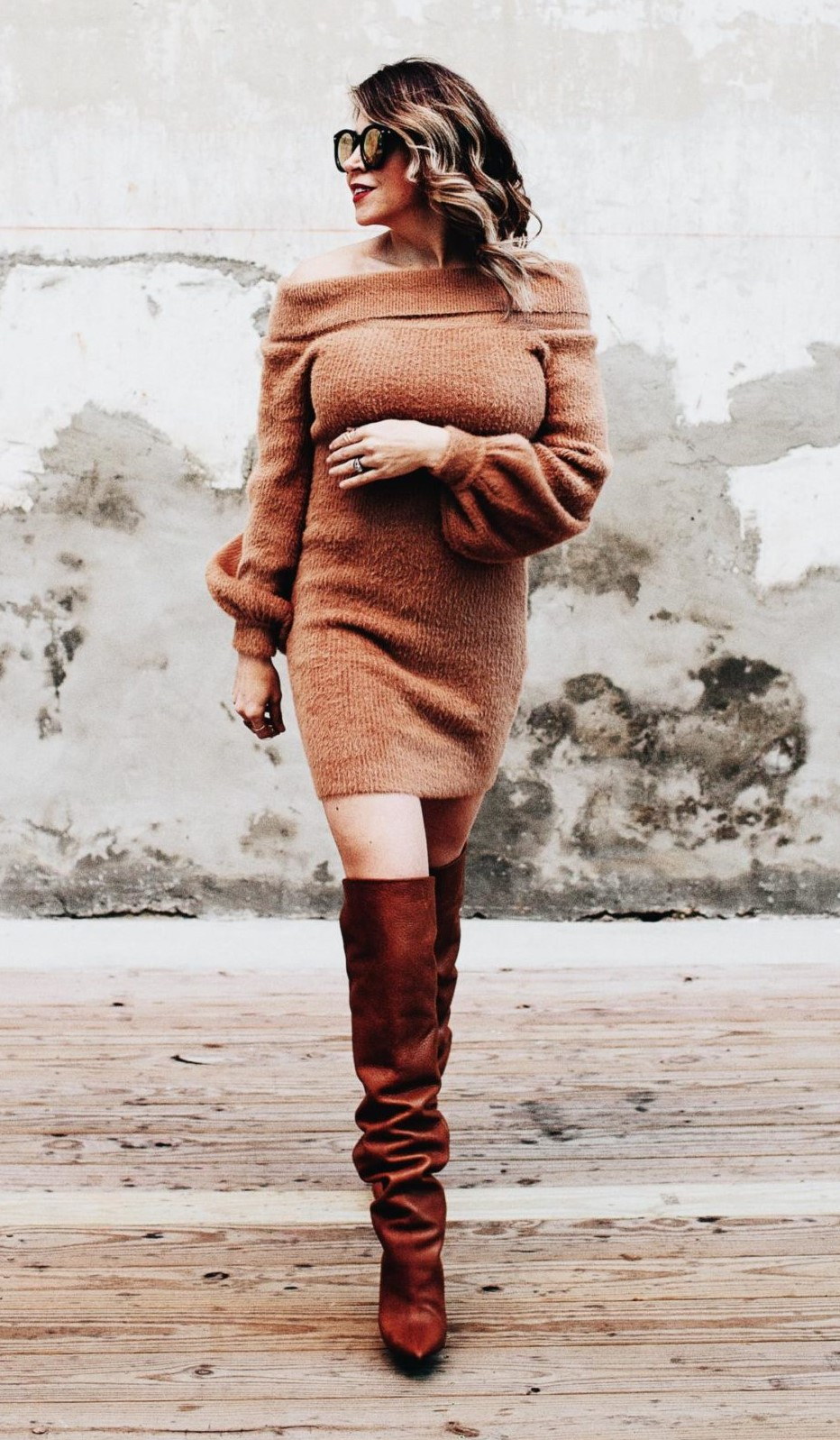 camel-dress-sweater-offshoulder-hairr-cognac-shoe-boots-fall-winter-thanksgiving-outfits-dinner.jpg