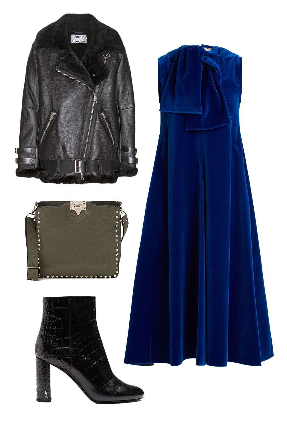 blue-navy-dress-midi-strapless-green-bag-black-jacket-moto-black-shoe-booties-velvet-fall-winter-thanksgiving-outfits-holidays-dinner.jpg