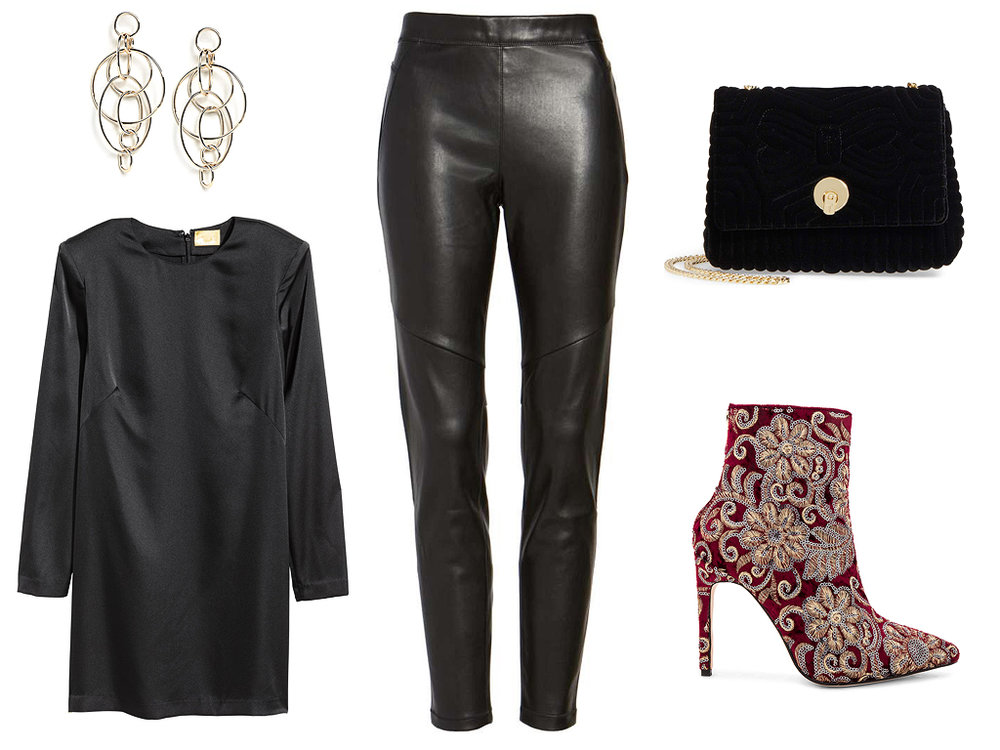 black-leggings-leather-black-top-tunic-earrings-red-shoe-booties-embroidered-black-bag-fall-winter-thanksgiving-outfits-holidays-dinner.jpg
