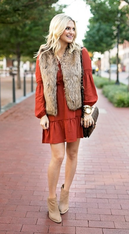 orange-dress-peasant-tan-vest-fur-blonde-tan-shoe-booties-fall-winter-thanksgiving-outfits-holidays-dinner.jpg