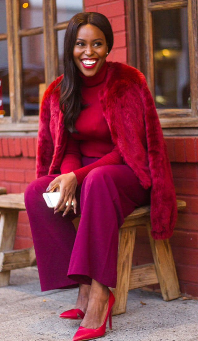 purple-royal-wideleg-pants-red-sweater-turtleneck-tonal-red-jacket-coat-fur-brun-red-shoe-pumps-fall-winter-thanksgiving-outfits-holidays-dinner.JPG