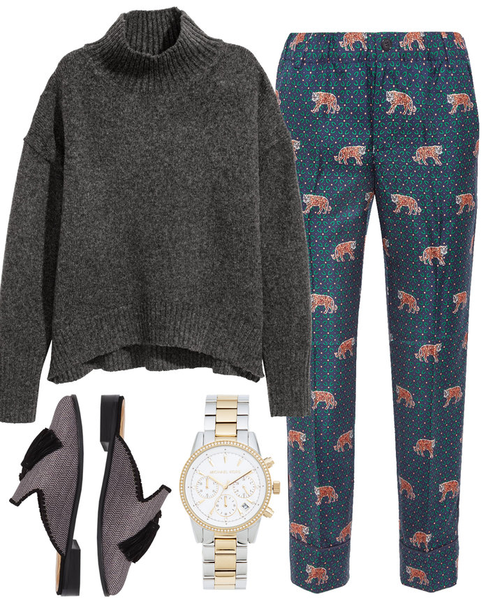 blue-navy-slim-pants-print-grayd-sweater-turtleneck-gray-shoe-flats-mules-watch-fall-winter-thanksgiving-outfits-dinner.jpg