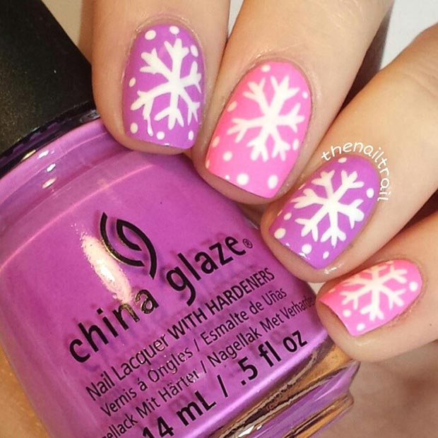 nail-polish-style-what-to-wear-christmas-day-dinner-holiday-outfits-winter-pink-purple-snowflakes.jpg