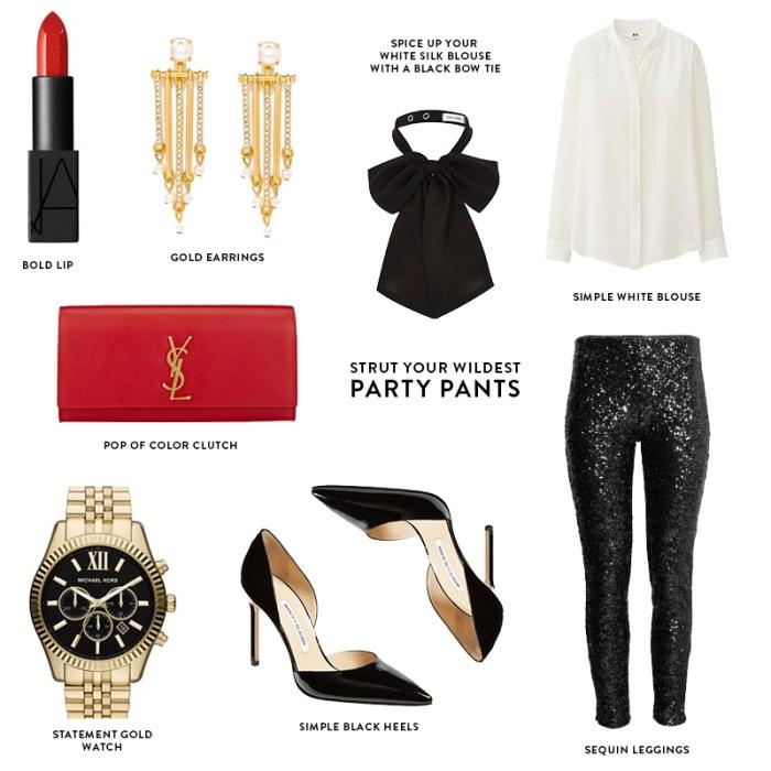 black-leggings-sequin-white-blouse-necktie-earrings-black-shoe-pumps-red-bag-clutch-watch-fall-winter-nye-dinner.jpg