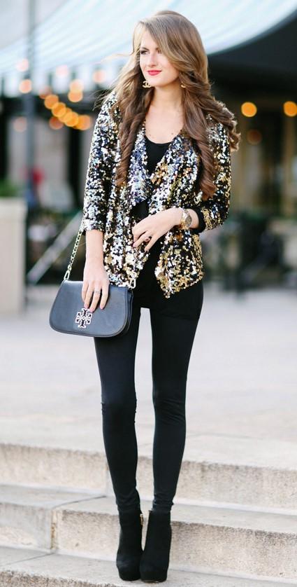 black-skinny-jeans-hairr-black-shoe-booties-black-bag-tan-jacket-blazer-gold-sequin-fall-winter-nye-dinner.jpg