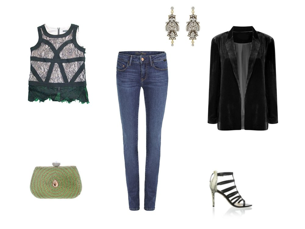 blue-med-skinny-jeans-black-top-lace-earrings-black-shoe-sandalh-black-jacket-blazer-fall-winter-nye-party-dinner.jpg
