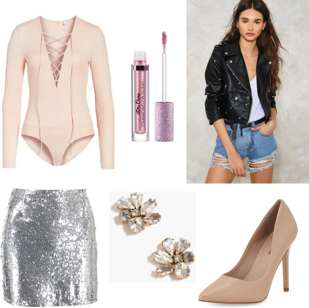 grayl-mini-skirt-sequin-black-jacket-moto-tan-shoe-pumps-studs-silver-metallic-white-top-bodysuit-hairr-fall-winter-nye-dinner.jpg