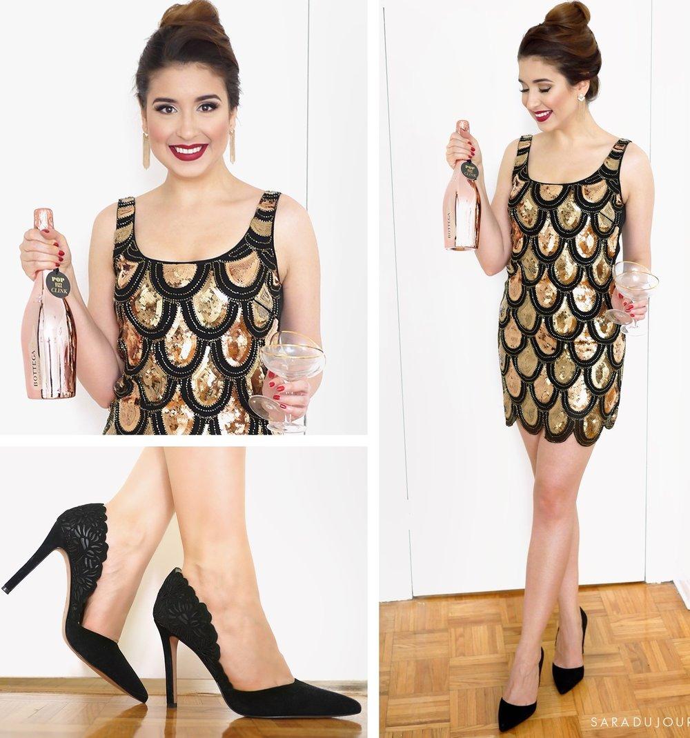 tan-dress-mini-gold-embellished-hairr-earrings-bun-black-shoe-pumps-fall-winter-nye-party-dinner.jpg
