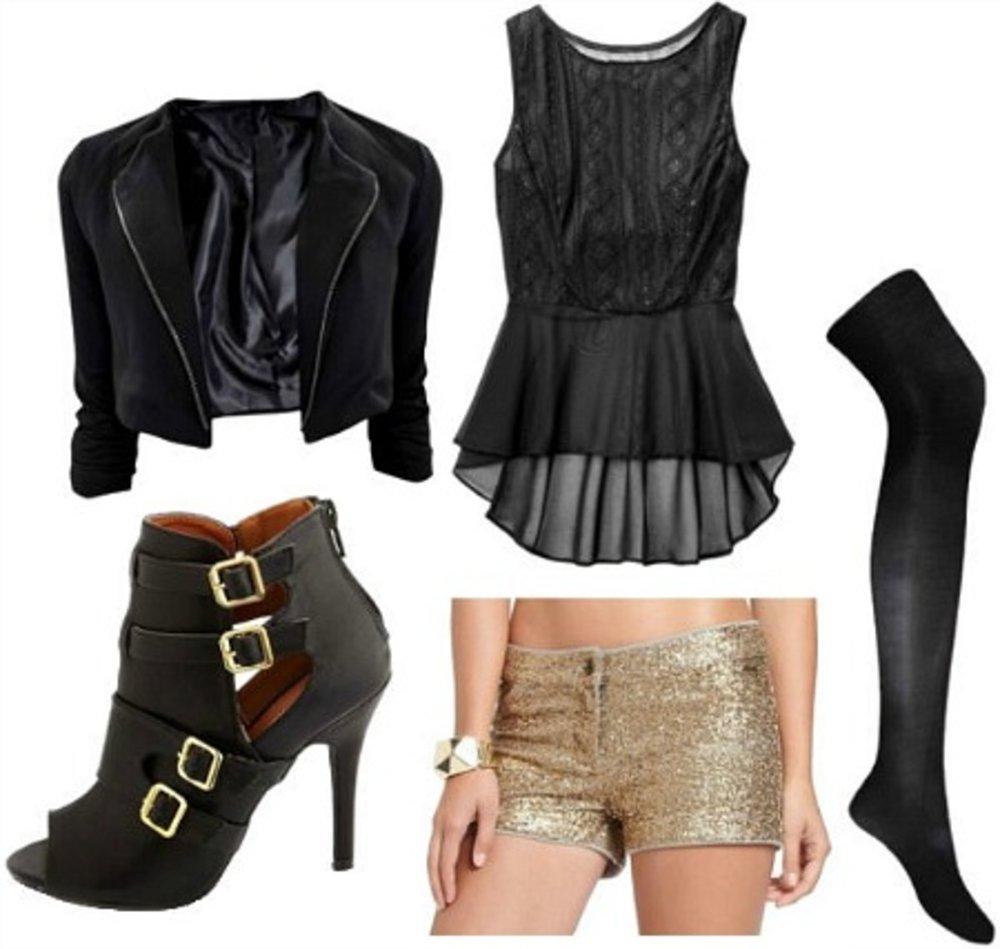 tan-shorts-gold-sequin-black-top-peplum-black-tights-black-shoe-booties-black-jacket-blazer-fall-winter-nye-dinner.jpg