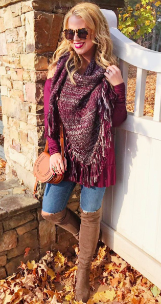 blue-med-skinny-jeans-tan-shoe-boots-cognac-bag-burgundy-top-burgundy-scarf-blonde-sun-thanksgivingoutfit-fall-winter-weekend.jpg