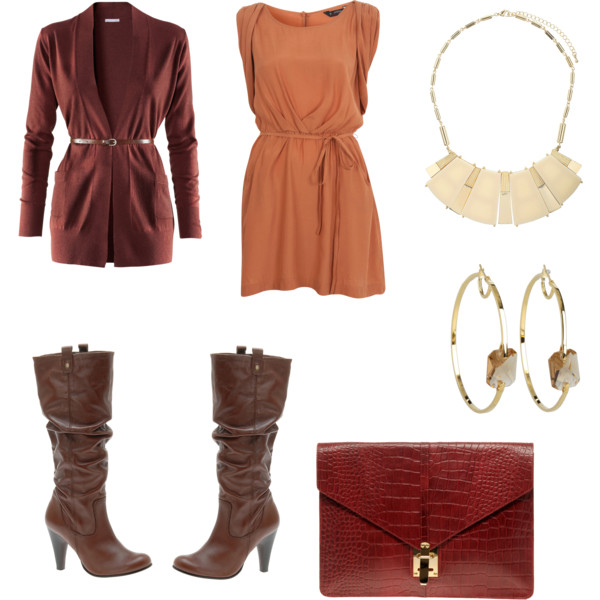 orange-dress-mini-red-bag-clutch-brown-shoe-boots-slouchy-hoops-bib-necklace-thanksgiving-brown-cardiganl-fall-winter-holiday-dinner.jpg