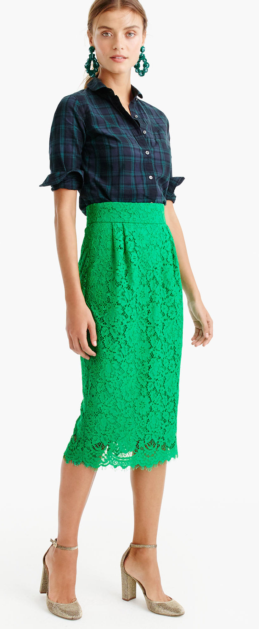 green-emerald-midi-skirt-lace-blue-navy-plaid-shirt-earrings-hairr-pony-tan-shoe-pumps-gold-fall-winter-holiday-dinner.jpg