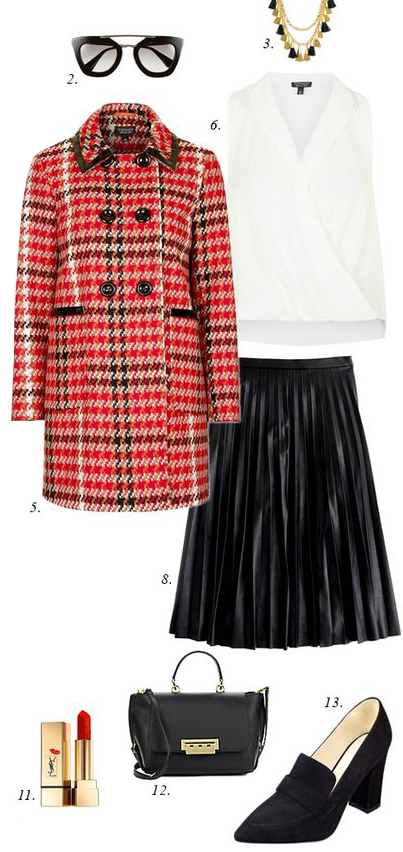 black-midi-skirt-white-top-blouse-necklace-sun-red-jacket-coat-plaid-pleat-black-bag-black-shoe-pumps-howtowear-fashion-style-outfit-fall-winter-holiday-dinner.jpg