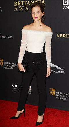black-slim-pants-white-top-offshoulder-black-shoe-pumps-necklace-bun-emmawatson-black-bag-clutch-hairr-howtowear-fashion-style-outfit-fall-winter-holiday-dinner.jpg