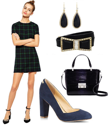 green-dark-dress-mini-plaid-belt-earrings-blue-bag-blue-shoe-pumps-howtowear-fashion-style-outfit-fall-winter-holiday-dinner.jpg